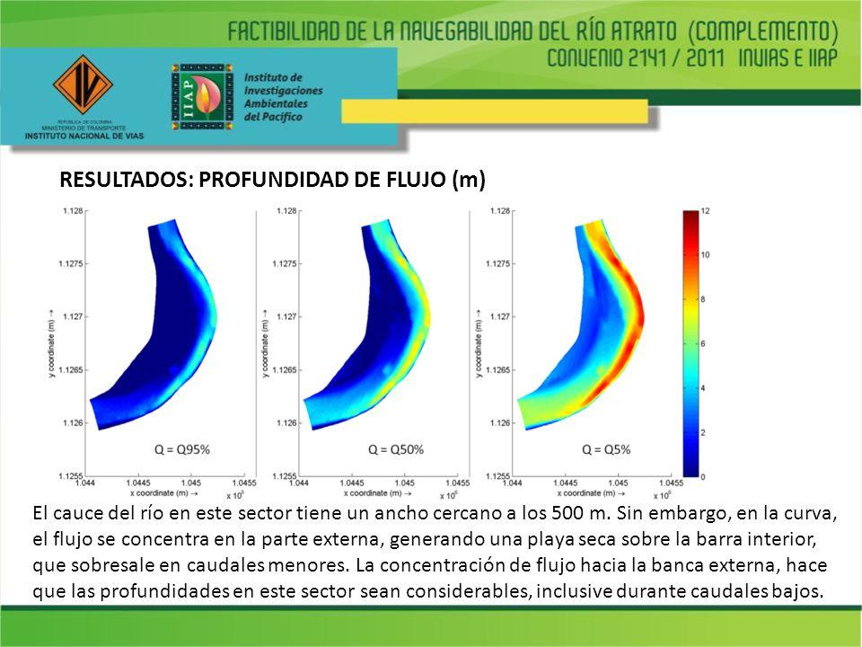 RESULTADOS: PROFUNDIDAD DE FLUJO (m) El cauce del río en este sector tiene un ancho cercano a los 500 m. Sin embargo, en la curva, el flujo se concent