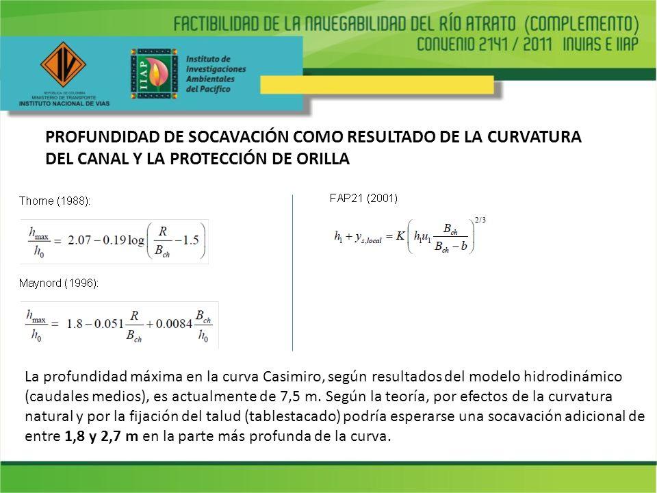 PROFUNDIDAD DE SOCAVACIÓN COMO RESULTADO DE LA CURVATURA DEL CANAL Y LA PROTECCIÓN DE ORILLA La profundidad máxima en la curva Casimiro, según resulta