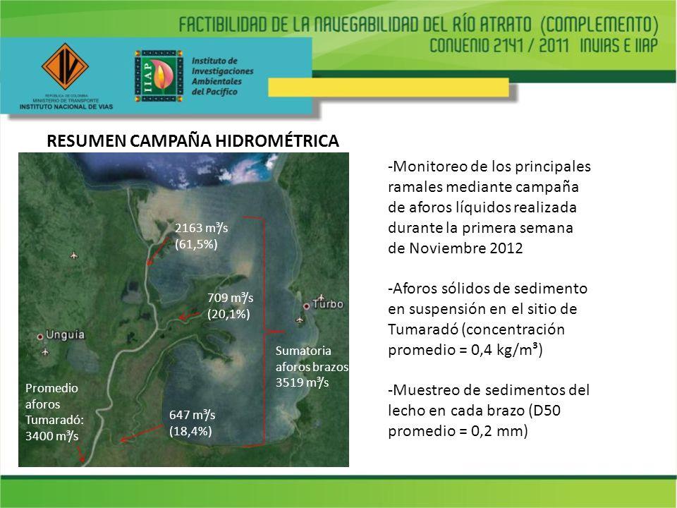 RESUMEN CAMPAÑA HIDROMÉTRICA -Monitoreo de los principales ramales mediante campaña de aforos líquidos realizada durante la primera semana de Noviembr
