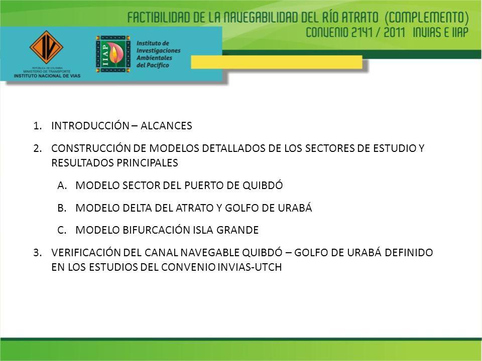 1.INTRODUCCIÓN – ALCANCES 2.CONSTRUCCIÓN DE MODELOS DETALLADOS DE LOS SECTORES DE ESTUDIO Y RESULTADOS PRINCIPALES A.MODELO SECTOR DEL PUERTO DE QUIBD