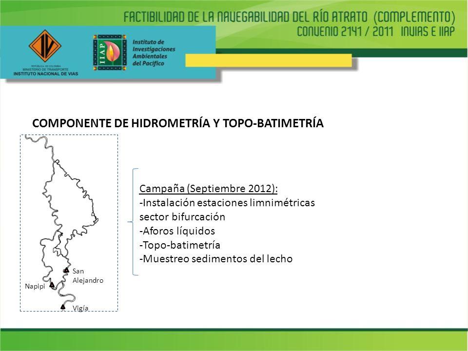 COMPONENTE DE HIDROMETRÍA Y TOPO-BATIMETRÍA Campaña (Septiembre 2012): -Instalación estaciones limnimétricas sector bifurcación -Aforos líquidos -Topo