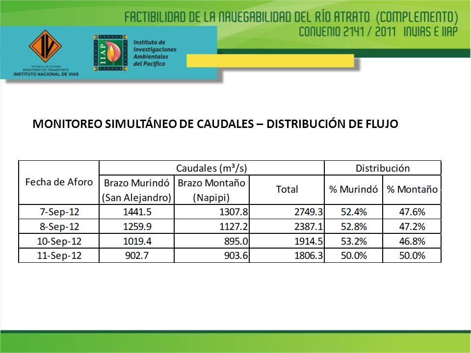 MONITOREO SIMULTÁNEO DE CAUDALES – DISTRIBUCIÓN DE FLUJO