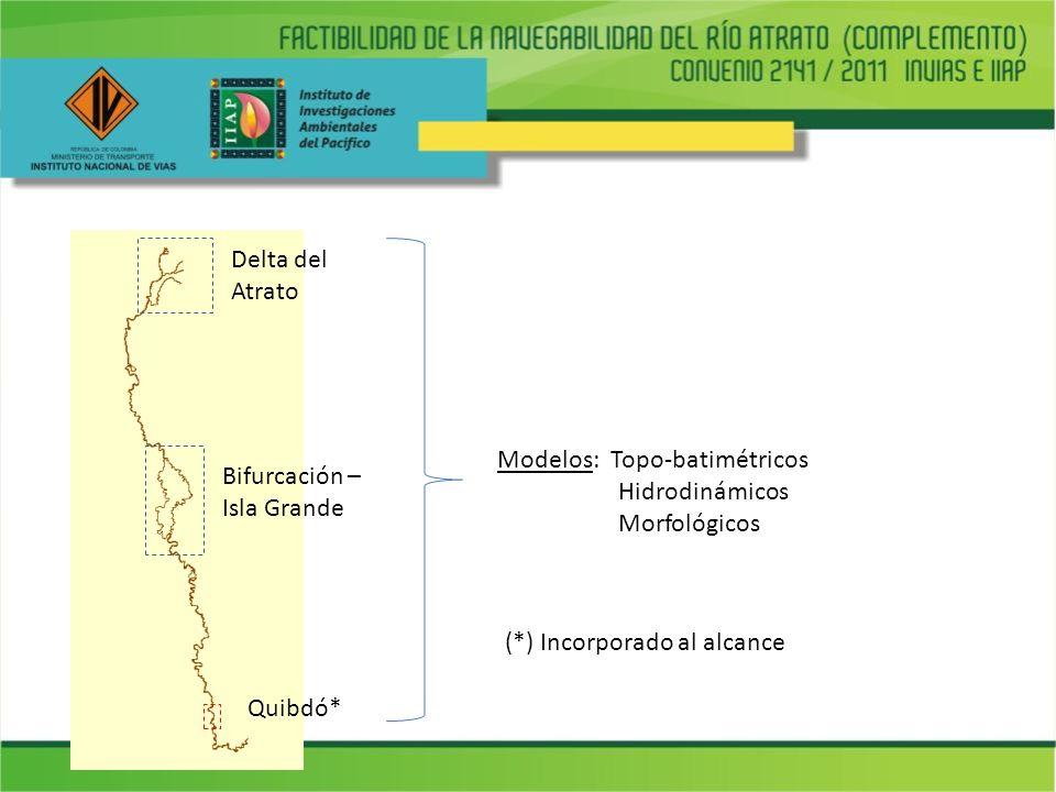 Quibdó* Delta del Atrato Bifurcación – Isla Grande Modelos: Topo-batimétricos Hidrodinámicos Morfológicos (*) Incorporado al alcance