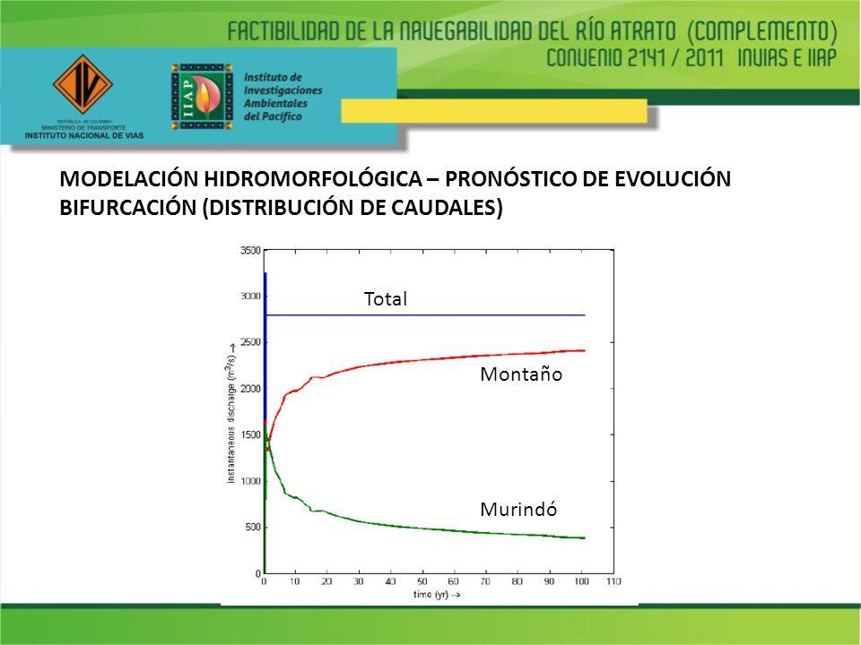 MODELACIÓN HIDROMORFOLÓGICA – PRONÓSTICO DE EVOLUCIÓN BIFURCACIÓN (DISTRIBUCIÓN DE CAUDALES) Total Montaño Murindó