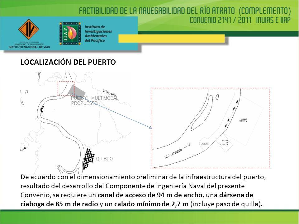 LOCALIZACIÓN DEL PUERTO De acuerdo con el dimensionamiento preliminar de la infraestructura del puerto, resultado del desarrollo del Componente de Ing