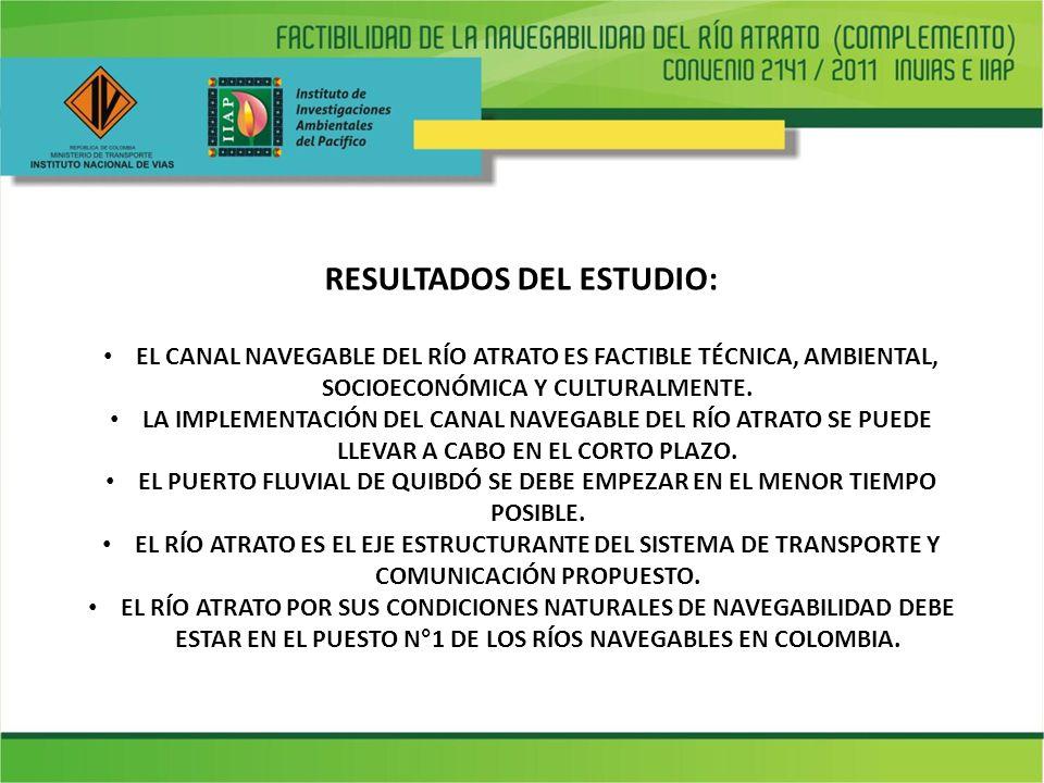 RESULTADOS DEL ESTUDIO: EL CANAL NAVEGABLE DEL RÍO ATRATO ES FACTIBLE TÉCNICA, AMBIENTAL, SOCIOECONÓMICA Y CULTURALMENTE. LA IMPLEMENTACIÓN DEL CANAL