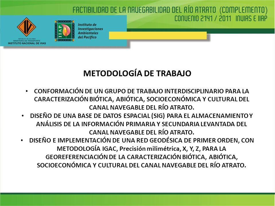METODOLOGÍA DE TRABAJO CONFORMACIÓN DE UN GRUPO DE TRABAJO INTERDISCIPLINARIO PARA LA CARACTERIZACIÓN BIÓTICA, ABIÓTICA, SOCIOECONÓMICA Y CULTURAL DEL CANAL NAVEGABLE DEL RÍO ATRATO.