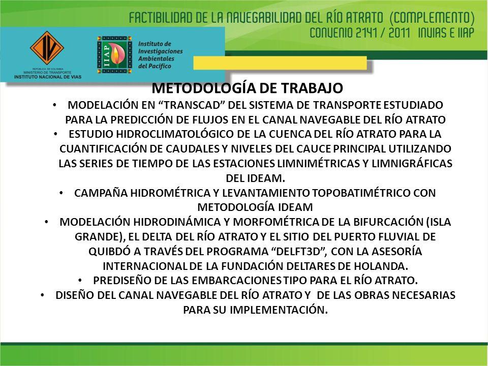 METODOLOGÍA DE TRABAJO MODELACIÓN EN TRANSCAD DEL SISTEMA DE TRANSPORTE ESTUDIADO PARA LA PREDICCIÓN DE FLUJOS EN EL CANAL NAVEGABLE DEL RÍO ATRATO ESTUDIO HIDROCLIMATOLÓGICO DE LA CUENCA DEL RÍO ATRATO PARA LA CUANTIFICACIÓN DE CAUDALES Y NIVELES DEL CAUCE PRINCIPAL UTILIZANDO LAS SERIES DE TIEMPO DE LAS ESTACIONES LIMNIMÉTRICAS Y LIMNIGRÁFICAS DEL IDEAM.