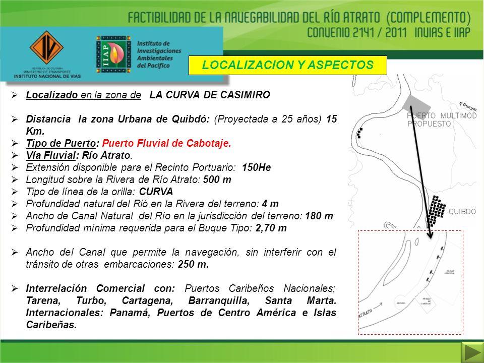 LOCALIZACION Y ASPECTOS Localizado en la zona de LA CURVA DE CASIMIRO Distancia la zona Urbana de Quibdó: (Proyectada a 25 años) 15 Km. Tipo de Puerto