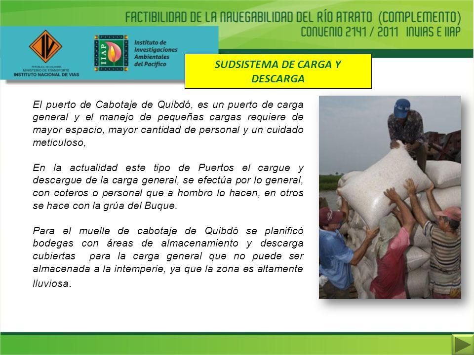 SUDSISTEMA DE CARGA Y DESCARGA El puerto de Cabotaje de Quibdó, es un puerto de carga general y el manejo de pequeñas cargas requiere de mayor espacio
