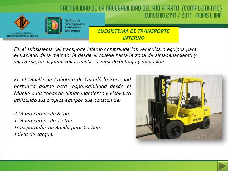 SUDSISTEMA DE TRANSPORTE INTERNO Es el subsistema del transporte interno comprende los vehículos o equipos para el traslado de la mercancía desde el m