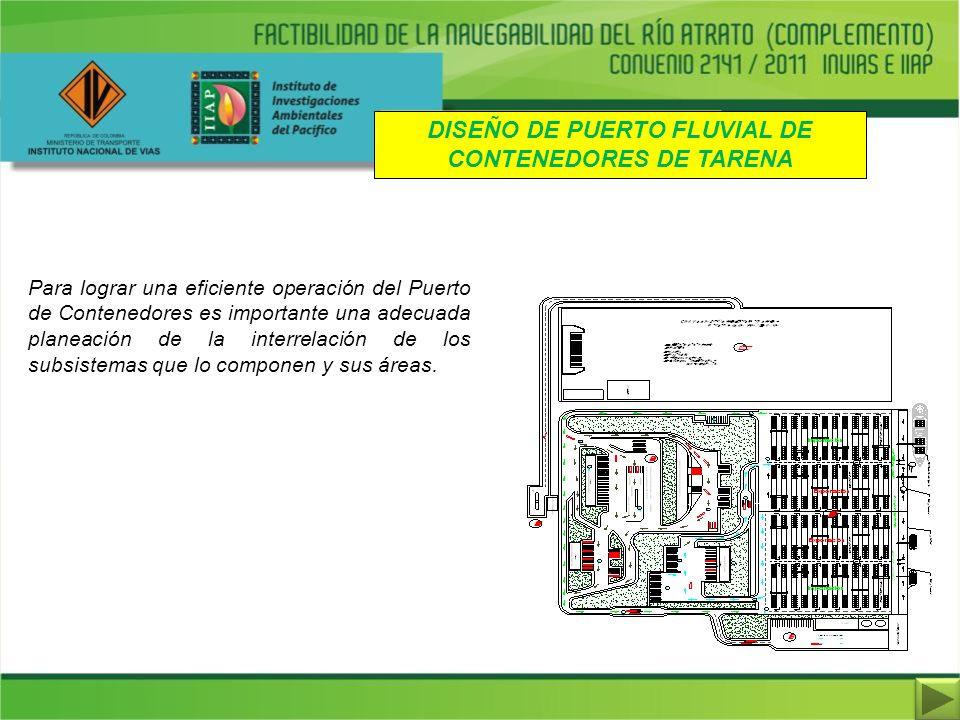 DISEÑO DE PUERTO FLUVIAL DE CONTENEDORES DE TARENA Para lograr una eficiente operación del Puerto de Contenedores es importante una adecuada planeació
