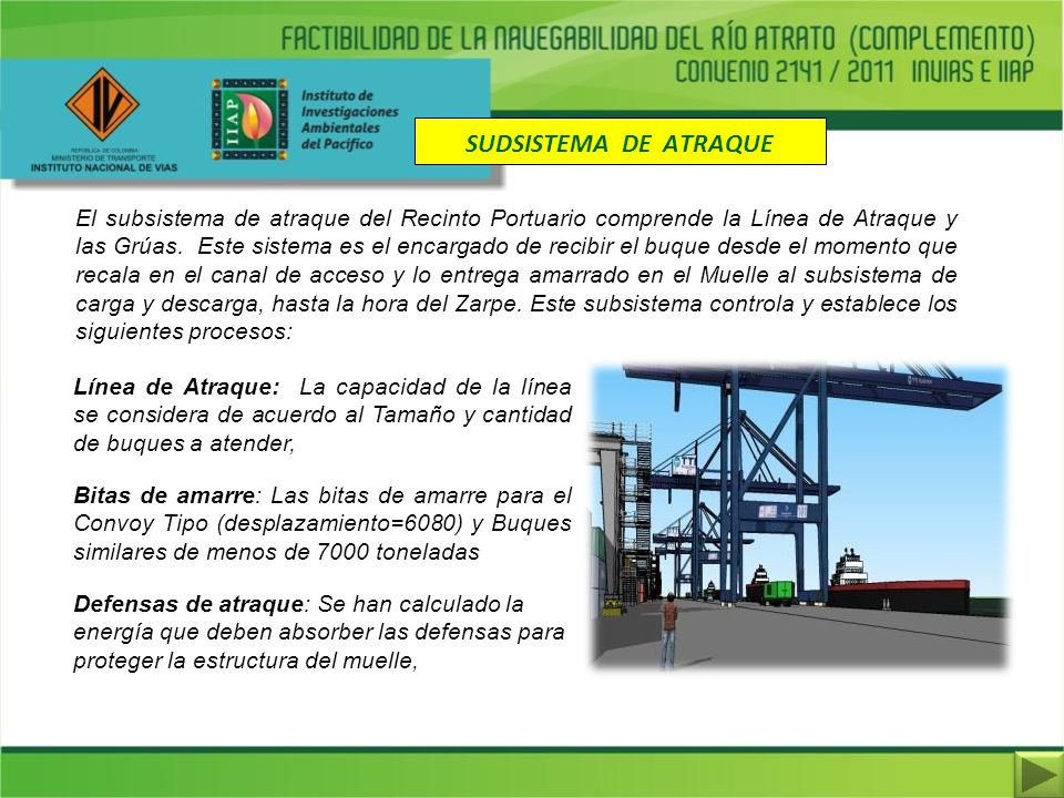 SUDSISTEMA DE ATRAQUE El subsistema de atraque del Recinto Portuario comprende la Línea de Atraque y las Grúas. Este sistema es el encargado de recibi