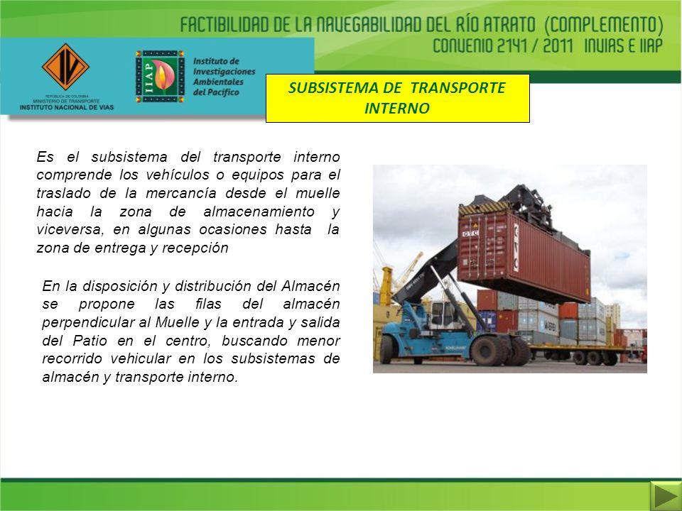 SUBSISTEMA DE TRANSPORTE INTERNO Es el subsistema del transporte interno comprende los vehículos o equipos para el traslado de la mercancía desde el m