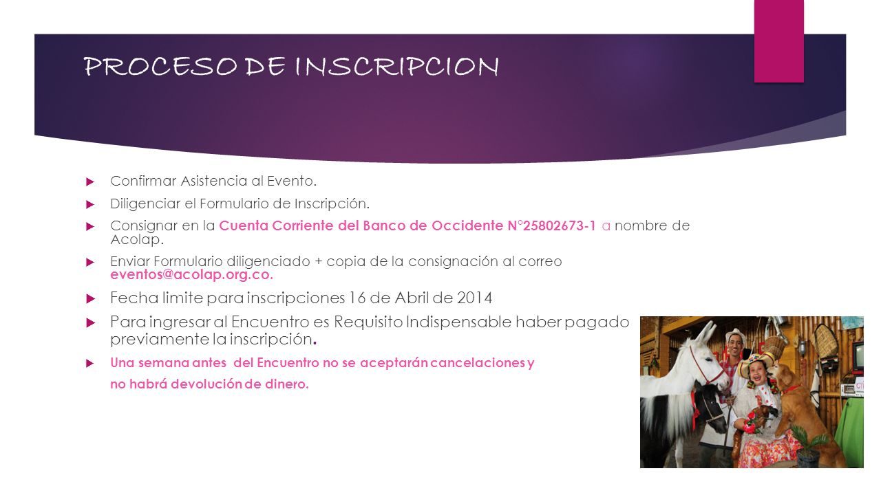PROCESO DE INSCRIPCION Confirmar Asistencia al Evento.