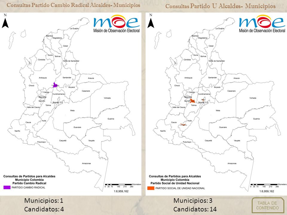 Consultas Partido Cambio Radical Alcaldes- Municipios Consultas Partido U Alcaldes- Municipios Municipios: 1 Candidatos: 4 Municipios: 3 Candidatos: 1
