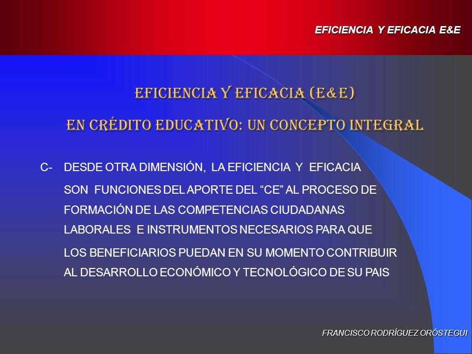 D-LOS CONCEPTOS DE E&E NECESARIAMENTE DEBEN PRECISARSE DENTRO DE UN CONTEXTO CULTURAL ESPECÍFICO, YA QUE SU VALOR VARÍA JUNTO CON LOS PARAMETROS PROPIOS DE CADA COMUNIDAD E INCLUSO DEPENDIENDO DE LA IMPORTANCIA QUE LOS GRUPOS SOCIALES LE ATRIBUYAN AL CRÉDITO EDUCATIVO COMO UN INSTRUMENTO NECESARIO Y VÁLIDO DE ACCESO A LA EDUCACION SUPERIOR, Y POR LO TANTO DE MOVILIDAD SOCIAL.