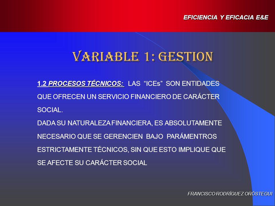 VARIABLE 1: GESTION FRANCISCO RODRÍGUEZ ORÓSTEGUI EFICIENCIA Y EFICACIA E&E : 1.3.