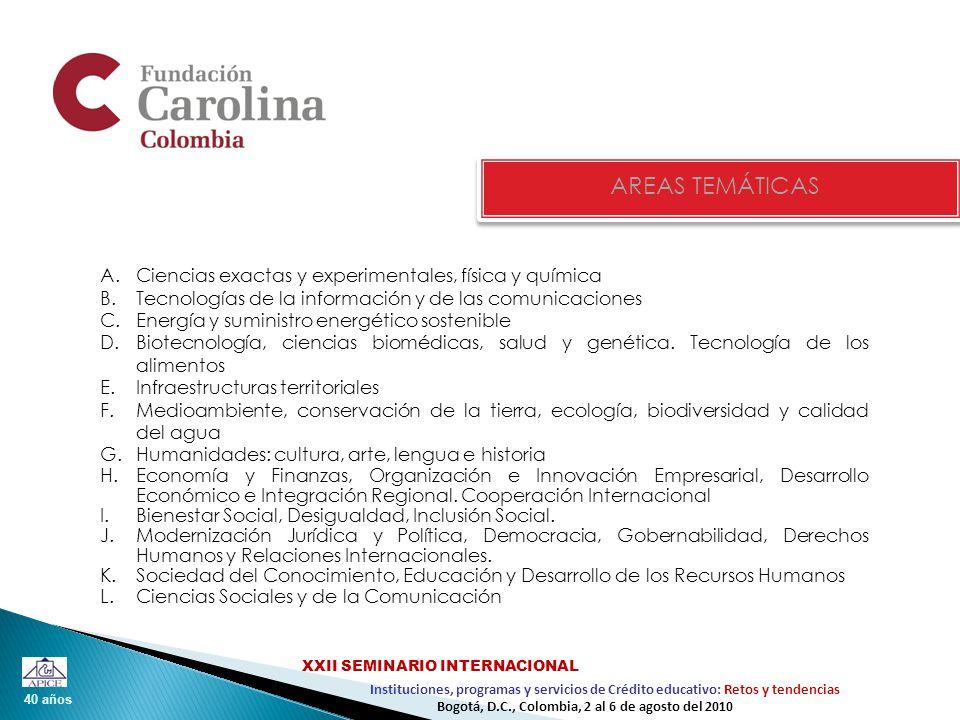 40 años Instituciones, programas y servicios de Crédito educativo: Retos y tendencias XXII SEMINARIO INTERNACIONAL Bogotá, D.C., Colombia, 2 al 6 de agosto del 2010 AREAS TEMÁTICAS A.Ciencias exactas y experimentales, física y química B.Tecnologías de la información y de las comunicaciones C.Energía y suministro energético sostenible D.Biotecnología, ciencias biomédicas, salud y genética.