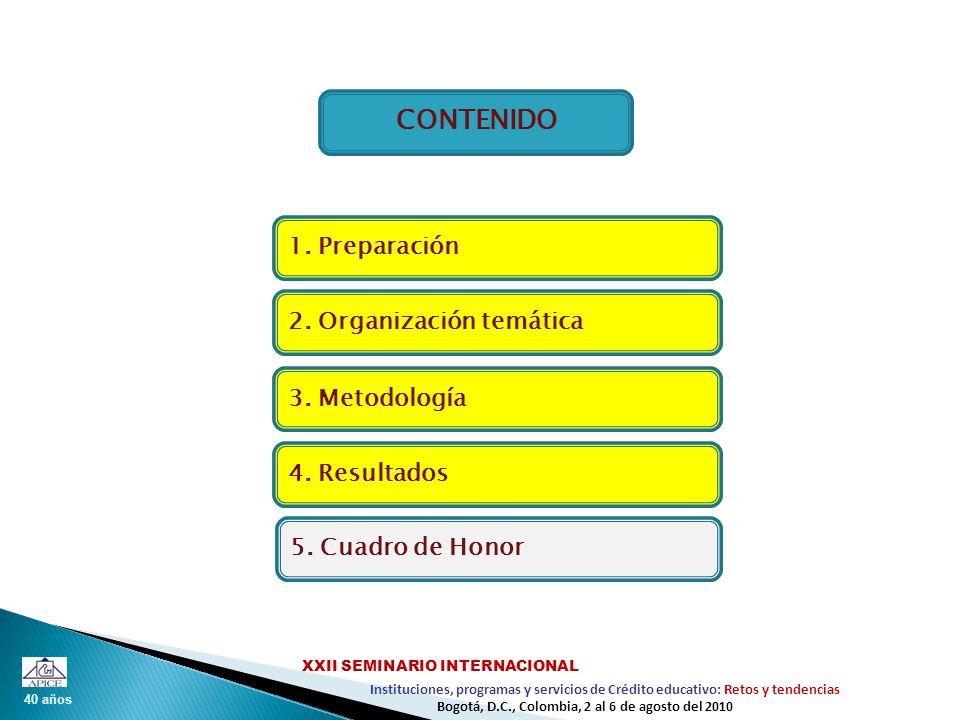40 años Instituciones, programas y servicios de Crédito educativo: Retos y tendencias XXII SEMINARIO INTERNACIONAL Bogotá, D.C., Colombia, 2 al 6 de agosto del 2010 CONTENIDO 2.