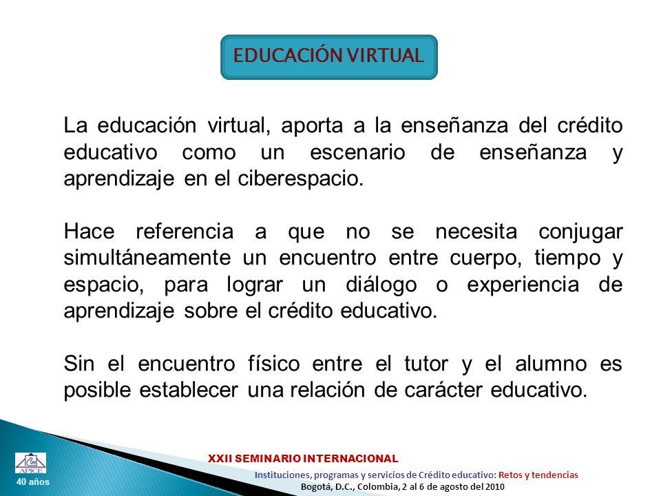 40 años Instituciones, programas y servicios de Crédito educativo: Retos y tendencias XXII SEMINARIO INTERNACIONAL Bogotá, D.C., Colombia, 2 al 6 de agosto del 2010 EDUCACIÓN VIRTUAL La educación virtual, aporta a la enseñanza del crédito educativo como un escenario de enseñanza y aprendizaje en el ciberespacio.