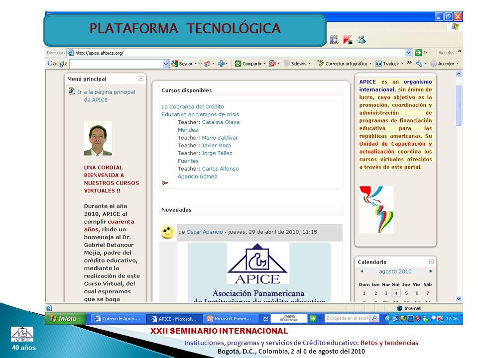 40 años Instituciones, programas y servicios de Crédito educativo: Retos y tendencias XXII SEMINARIO INTERNACIONAL Bogotá, D.C., Colombia, 2 al 6 de agosto del 2010 PLATAFORMA TECNOLÓGICA