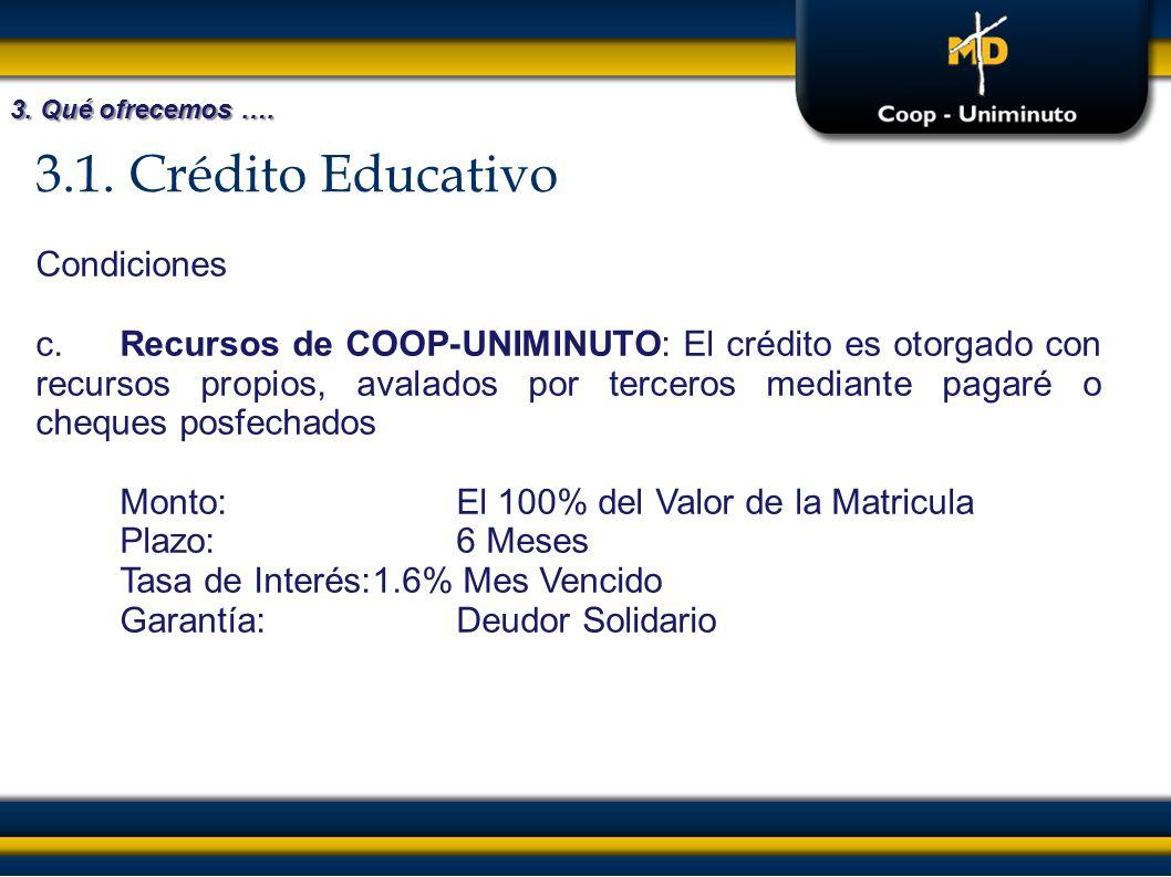 3.1. Crédito Educativo 3. Qué ofrecemos …. Condiciones c.Recursos de COOP-UNIMINUTO: El crédito es otorgado con recursos propios, avalados por tercero
