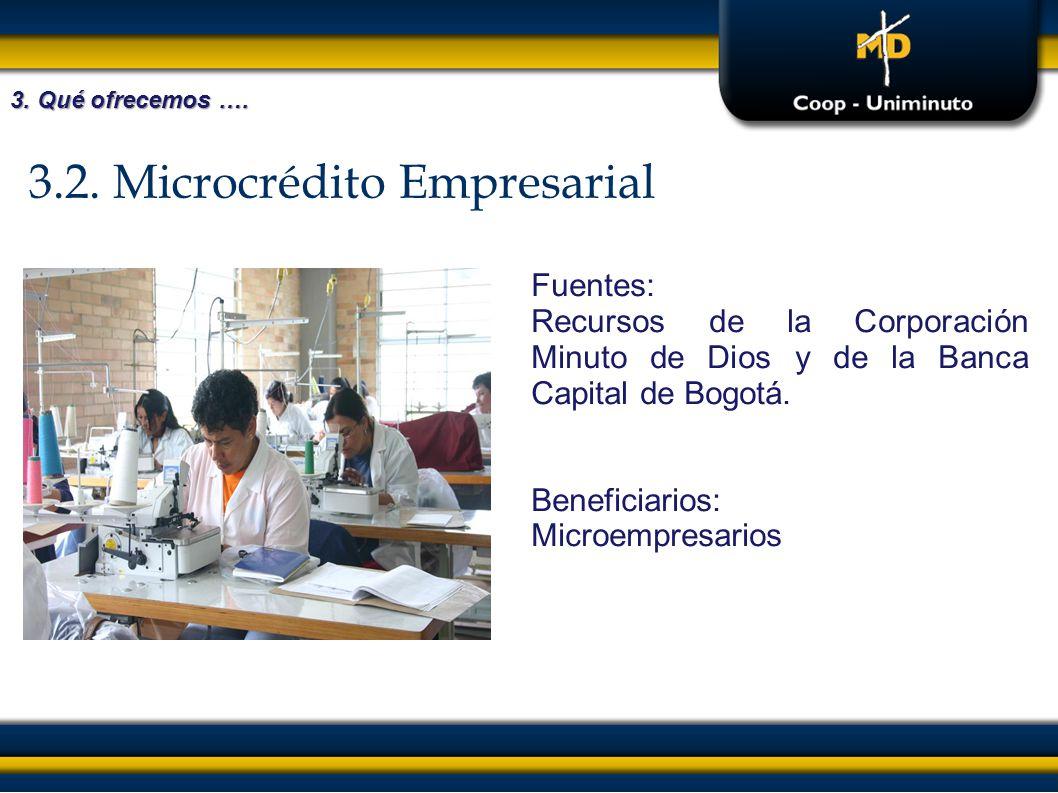 3.2. Microcrédito Empresarial Fuentes: Recursos de la Corporación Minuto de Dios y de la Banca Capital de Bogotá. Beneficiarios: Microempresarios 3. Q
