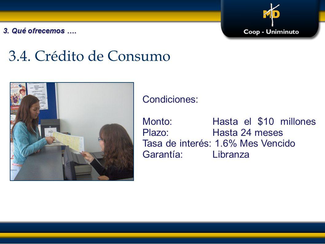 3.4. Crédito de Consumo Condiciones: Monto:Hasta el $10 millones Plazo:Hasta 24 meses Tasa de interés: 1.6% Mes Vencido Garantía:Libranza 3. Qué ofrec