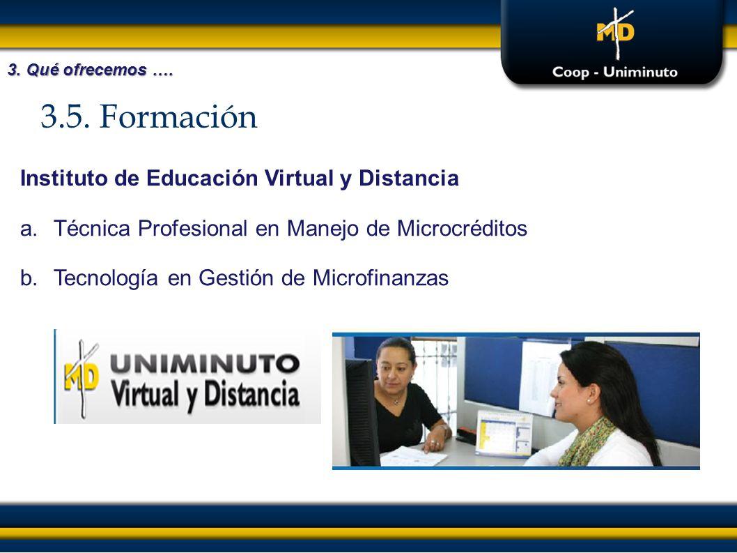 3.5. Formación 3. Qué ofrecemos …. Instituto de Educación Virtual y Distancia a.Técnica Profesional en Manejo de Microcréditos b.Tecnología en Gestión