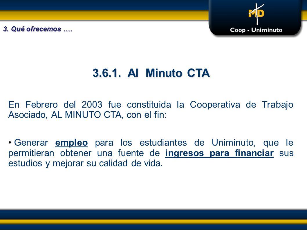 3.6.1. Al Minuto CTA En Febrero del 2003 fue constituida la Cooperativa de Trabajo Asociado, AL MINUTO CTA, con el fin: Generar empleo para los estudi