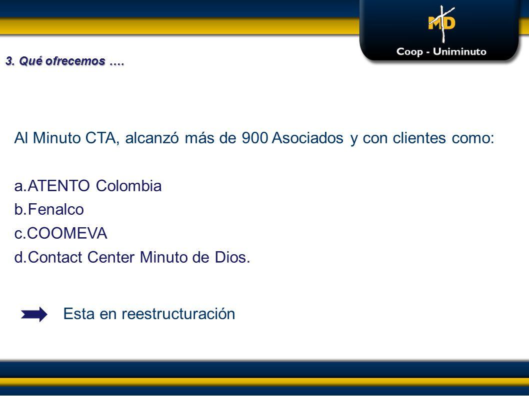 Al Minuto CTA, alcanzó más de 900 Asociados y con clientes como: a.ATENTO Colombia b.Fenalco c.COOMEVA d.Contact Center Minuto de Dios. Esta en reestr
