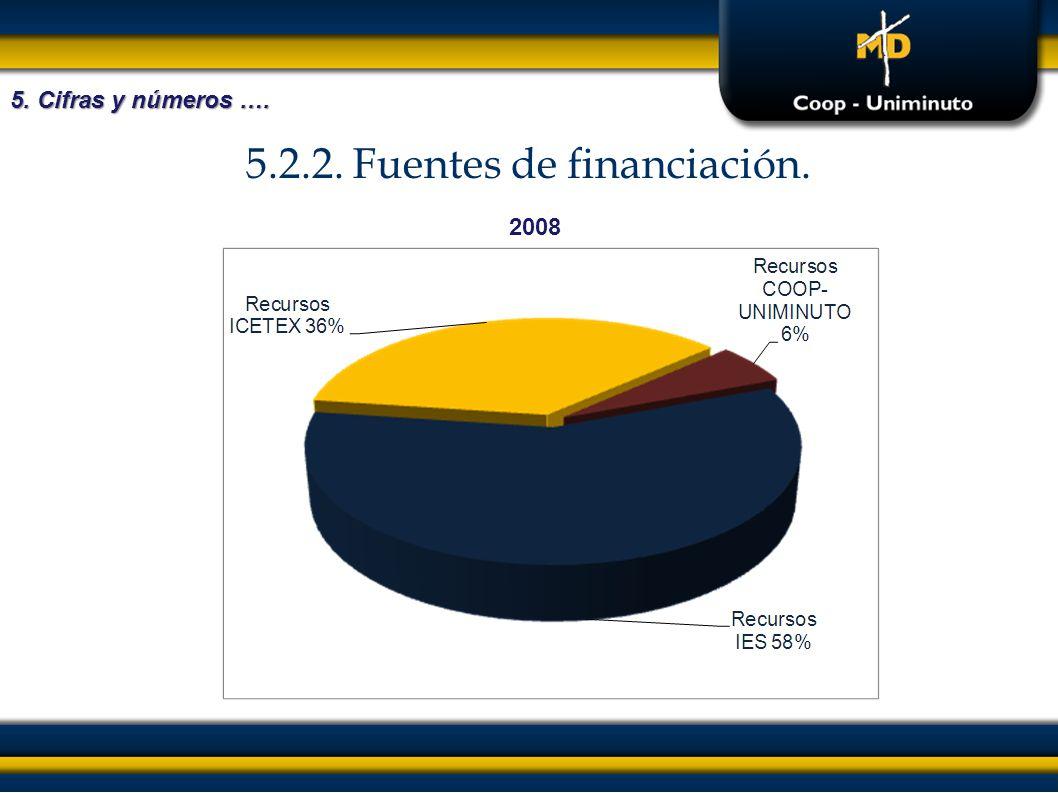 5.2.2. Fuentes de financiación. 5. Cifras y números …. 2008