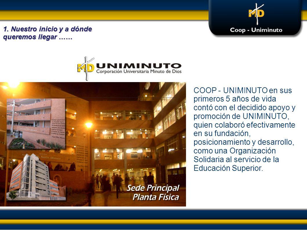 COOP - UNIMINUTO en sus primeros 5 años de vida contó con el decidido apoyo y promoción de UNIMINUTO, quien colaboró efectivamente en su fundación, po