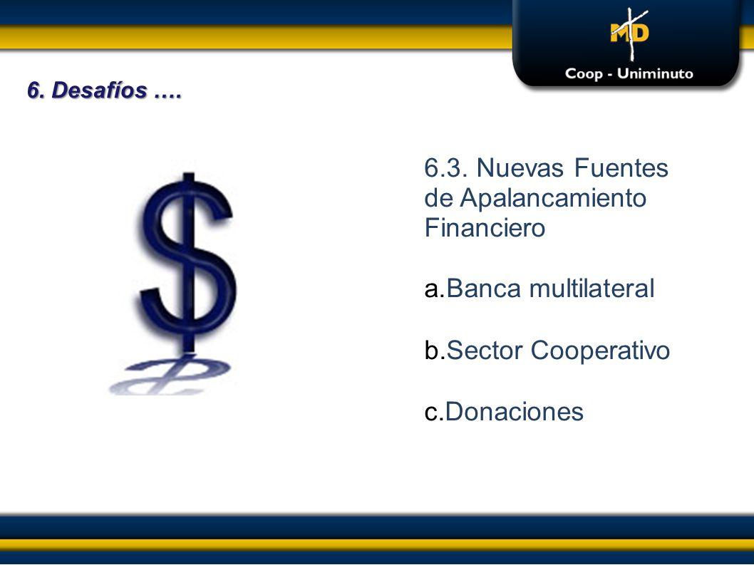 6.3. Nuevas Fuentes de Apalancamiento Financiero a.Banca multilateral b.Sector Cooperativo c.Donaciones 6. Desafíos ….