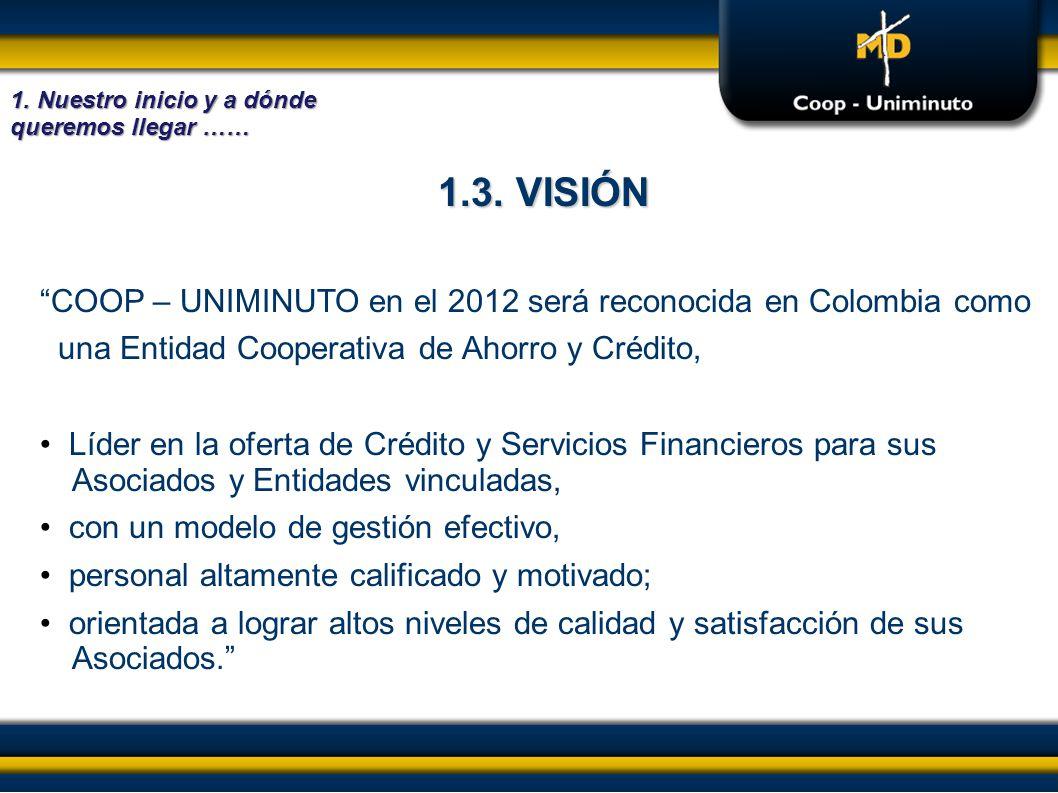 1.3. VISIÓN COOP – UNIMINUTO en el 2012 será reconocida en Colombia como una Entidad Cooperativa de Ahorro y Crédito, Líder en la oferta de Crédito y