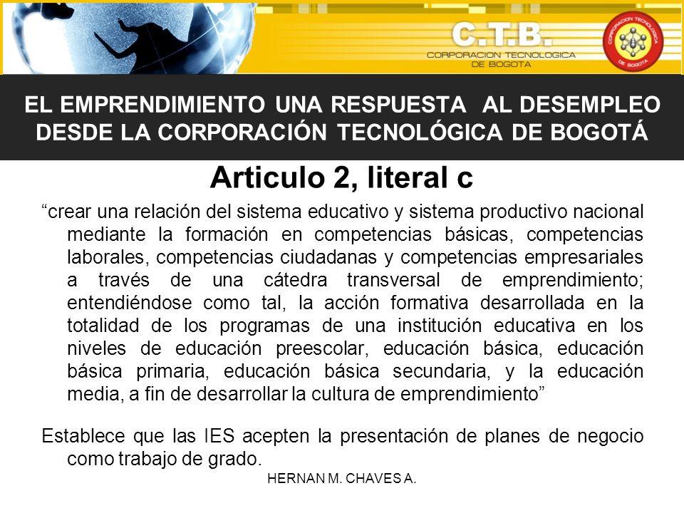 Articulo 2, literal c crear una relación del sistema educativo y sistema productivo nacional mediante la formación en competencias básicas, competenci