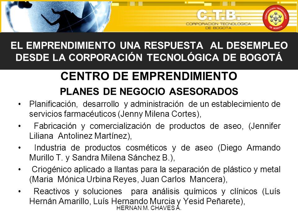 CENTRO DE EMPRENDIMIENTO PLANES DE NEGOCIO ASESORADOS Planificación, desarrollo y administración de un establecimiento de servicios farmacéuticos (Jen