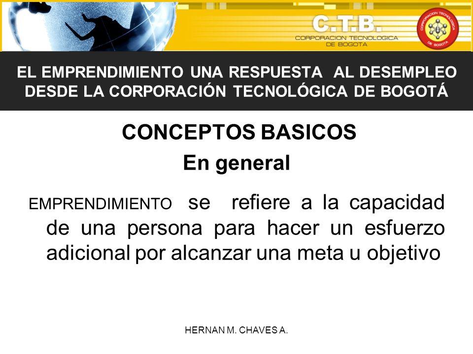 CONCEPTOS BASICOS En general EMPRENDIMIENTO se refiere a la capacidad de una persona para hacer un esfuerzo adicional por alcanzar una meta u objetivo
