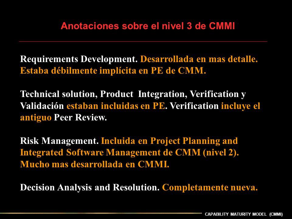 CAPABILITY MATURITY MODEL (CMMI) Anotaciones sobre el nivel 3 de CMMI Requirements Development. Desarrollada en mas detalle. Estaba débilmente implíci