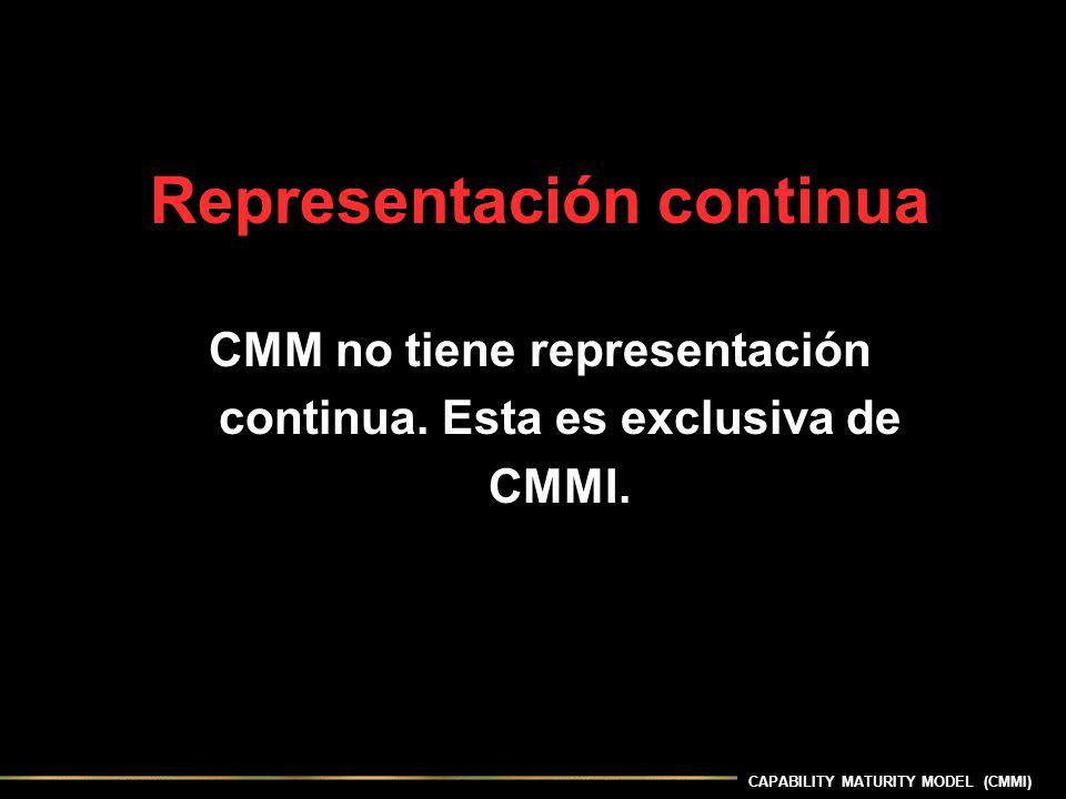 CAPABILITY MATURITY MODEL (CMMI) Representación continua CMM no tiene representación continua. Esta es exclusiva de CMMI.