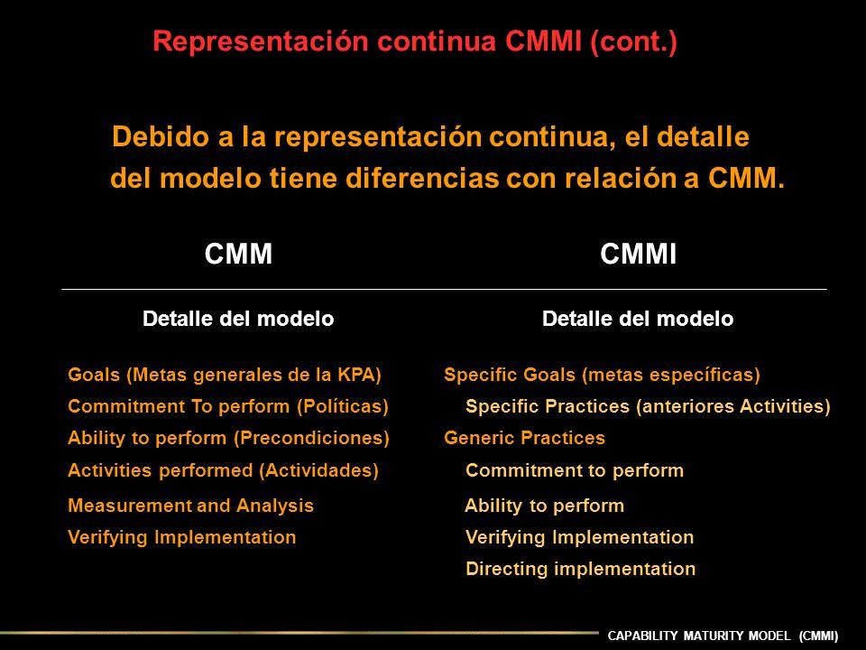 CAPABILITY MATURITY MODEL (CMMI) Debido a la representación continua, el detalle del modelo tiene diferencias con relación a CMM. Representación conti