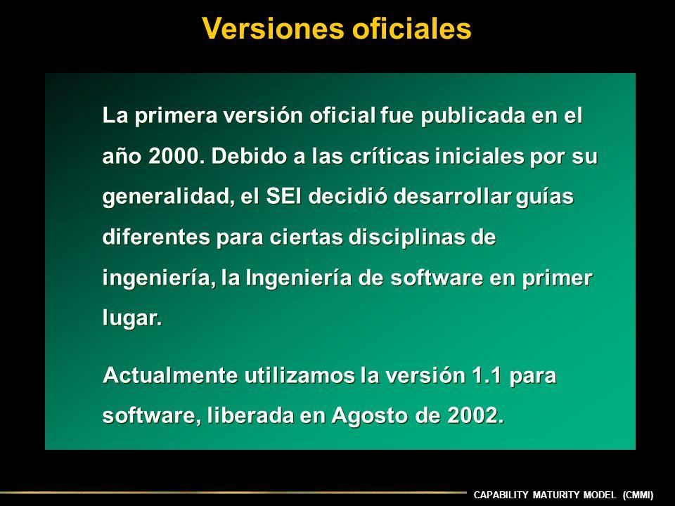 Versiones oficiales La primera versión oficial fue publicada en el año 2000. Debido a las críticas iniciales por su generalidad, el SEI decidió desarr