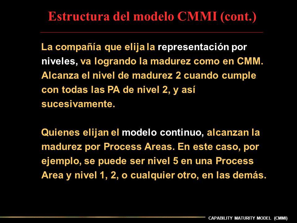 CAPABILITY MATURITY MODEL (CMMI) La compañía que elija la representación por niveles, va logrando la madurez como en CMM. Alcanza el nivel de madurez