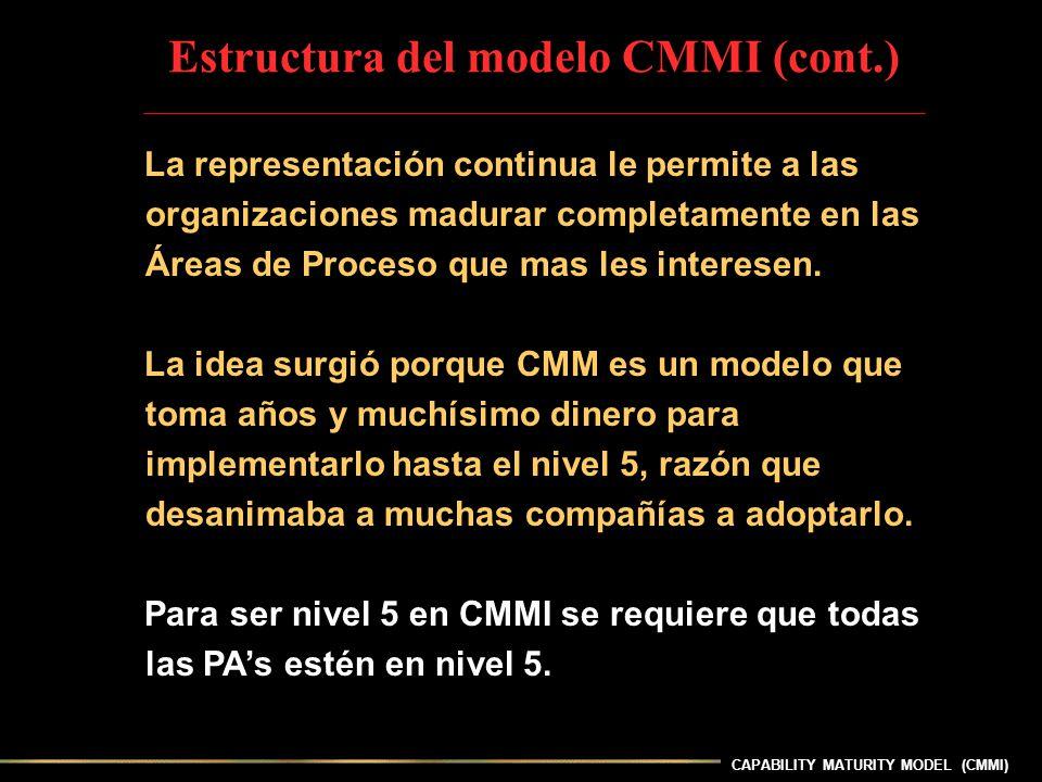 CAPABILITY MATURITY MODEL (CMMI) La representación continua le permite a las organizaciones madurar completamente en las Áreas de Proceso que mas les