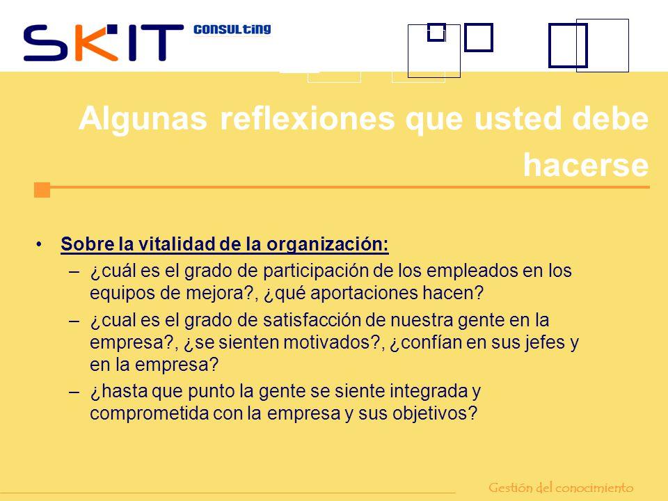 Sobre la vitalidad de la organización: –¿cuál es el grado de participación de los empleados en los equipos de mejora?, ¿qué aportaciones hacen? –¿cual