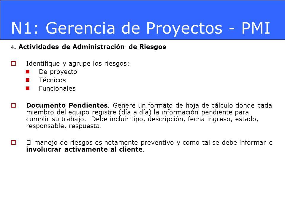 N1: Gerencia de Proyectos - PMI 4. Actividades de Administración de Riesgos Identifique y agrupe los riesgos: De proyecto Técnicos Funcionales Documen