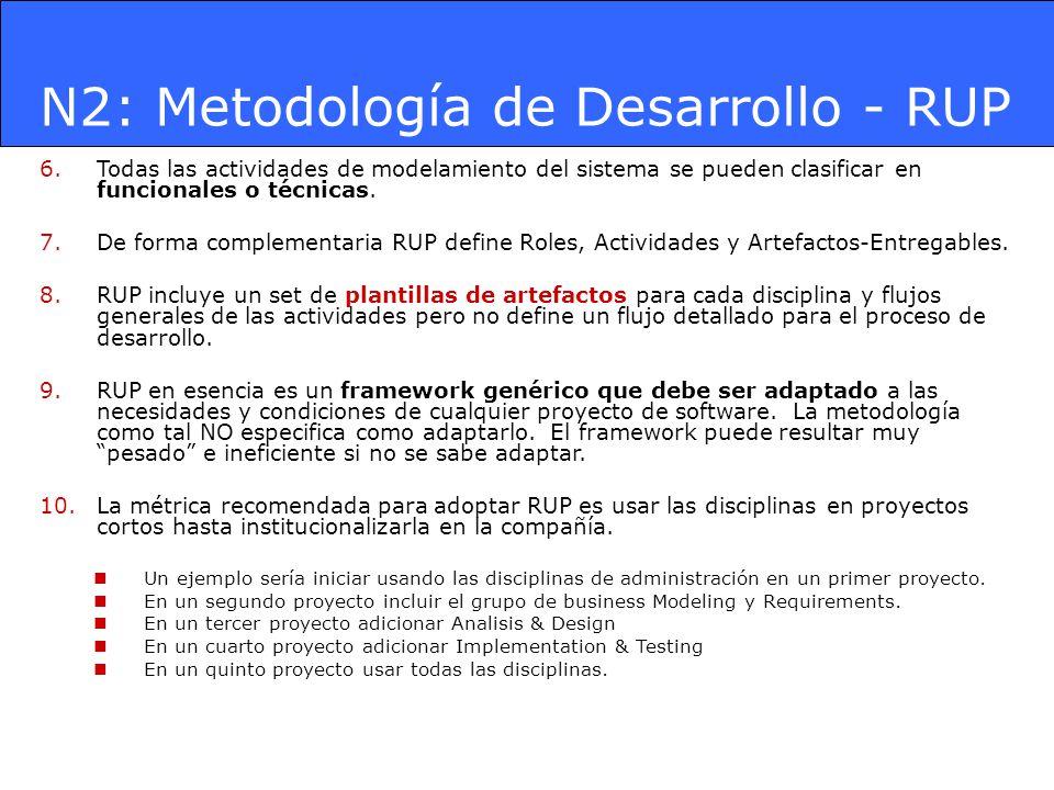 N2: Metodología de Desarrollo - RUP 6.Todas las actividades de modelamiento del sistema se pueden clasificar en funcionales o técnicas. 7.De forma com