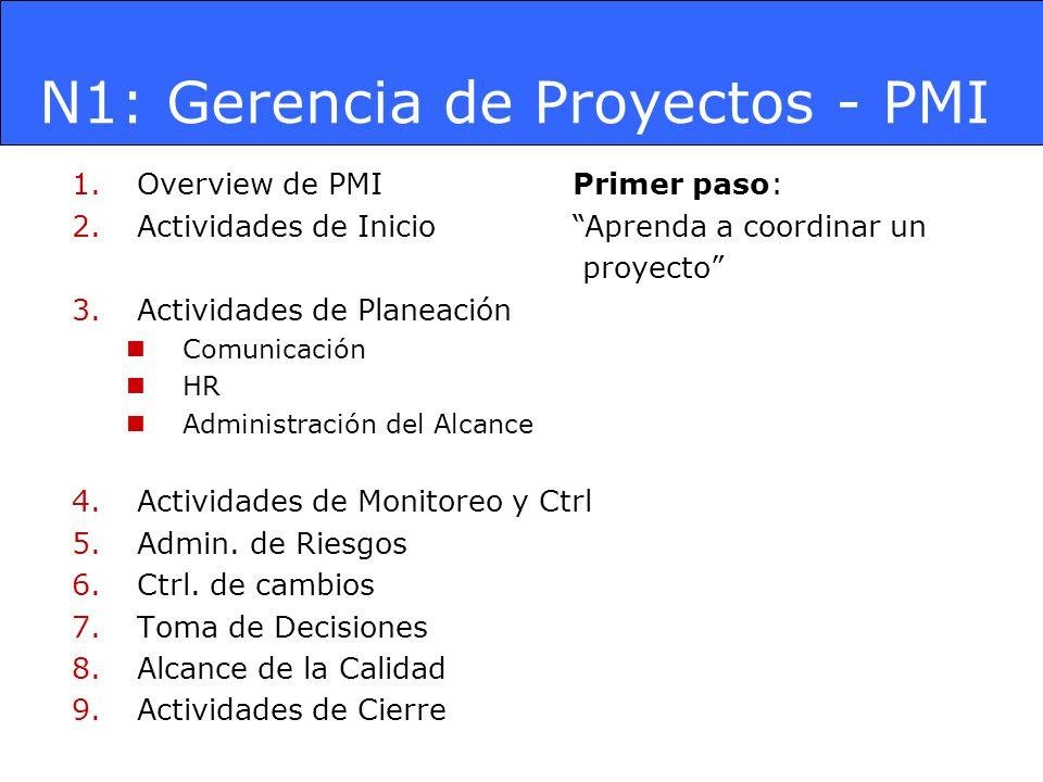 N1: Gerencia de Proyectos - PMI 1.Overview de PMI 2.Actividades de Inicio 3.Actividades de Planeación Comunicación HR Administración del Alcance 4.Act