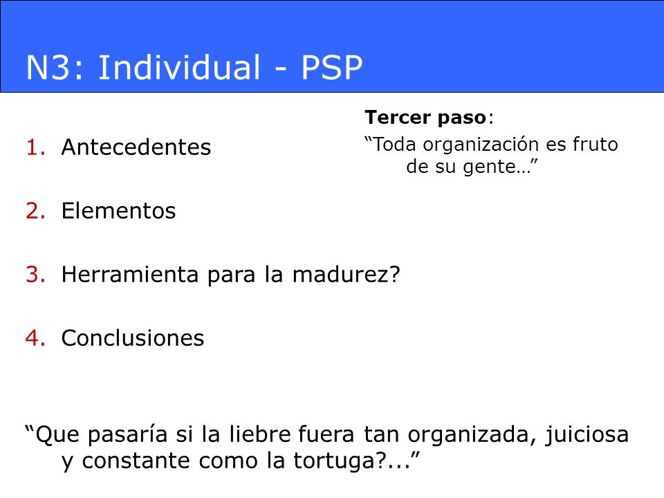 N3: Individual - PSP 1.Antecedentes 2.Elementos 3.Herramienta para la madurez? 4.Conclusiones Que pasaría si la liebre fuera tan organizada, juiciosa